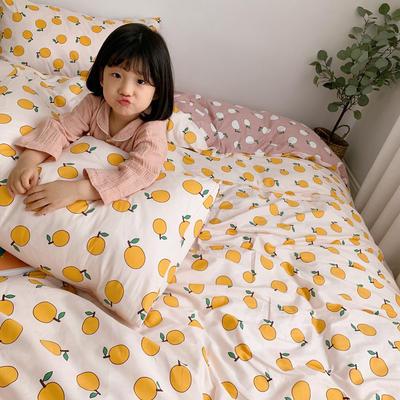 2019新款ins网红纯棉套件四件套 1.2m(4英尺)床单款三件套 米白桔子