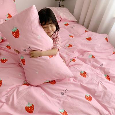 2019新款ins网红纯棉套件四件套 1.5m(5英尺)床单款 甜心草莓