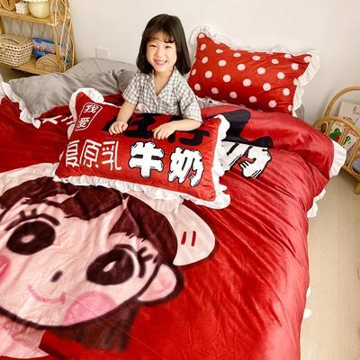 2019新款原创二次元宝宝绒套件 1.2m(4英尺)床单款 旺仔女孩