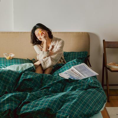 2020新款全棉系帶復古格紋四件套 1.2m(4英尺)床單款三件套 巴黎綠格