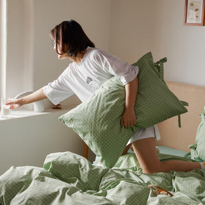 2020新款全棉系带复古格纹四件套 1.2m(4英尺)床单款三件套 茶绿格