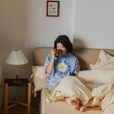 2020新款全棉系带复古格纹四件套 1.2m(4英尺)床单款三件套 复古黄