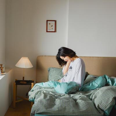 2020新款全棉系带复古格纹四件套 1.2m(4英尺)床单款三件套 复古绿