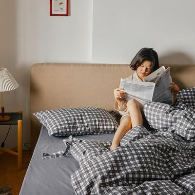 2020新款全棉系带复古格纹四件套 1.2m(4英尺)床单款三件套 黑格