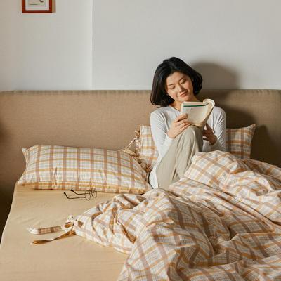 2020新款全棉系带复古格纹四件套 1.2m(4英尺)床单款三件套 奶茶格