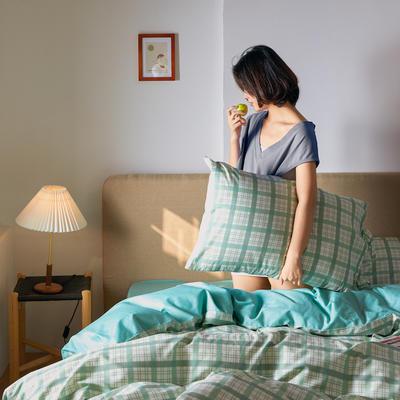 2020新款全棉系带复古格纹四件套 1.2m(4英尺)床单款三件套 清新蓝绿