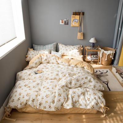 2020新款全棉韩式碎花套件 1.2m床单款三件套 黄色碎花
