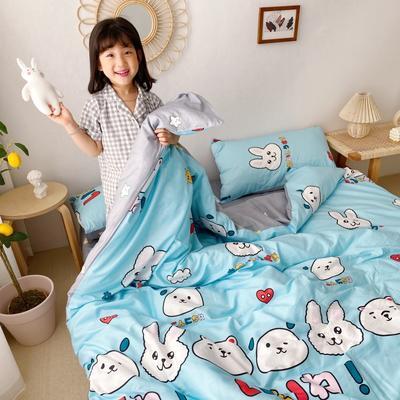 2020新款日系新花色四件套 1.8m(6英尺)床单款 蓝团子