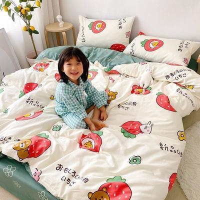 2020新款日系新花色四件套 1.8m(6英尺)床单款 日系草莓