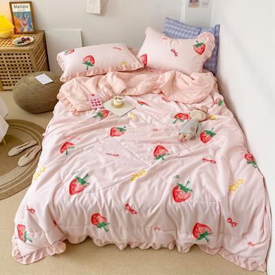 2020新款ins治愈小清新水洗棉夏被套件 150x200cm单夏被 日系草莓