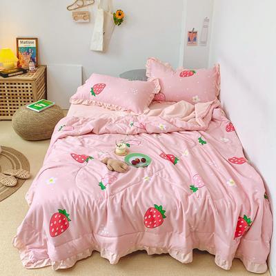 2020新款ins治愈小清新水洗棉夏被套件 150x200cm单夏被 甜心草莓