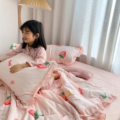 2020新款ins治愈系水洗棉夏被套件小模特图 200X230cm单夏被 日系草莓