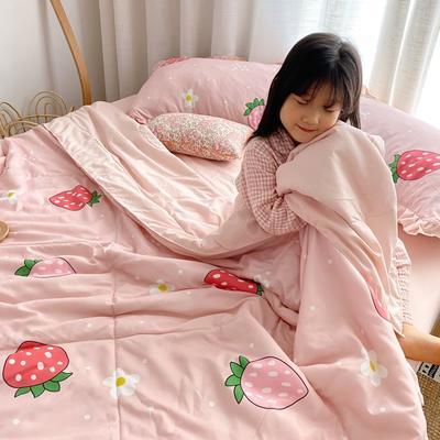 2020新款ins治愈系水洗棉夏被套件小模特图 200X230cm单夏被 甜心草莓