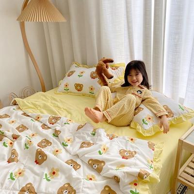 2020新款ins治愈系水洗棉夏被套件小模特图 200X230cm单夏被 小花熊