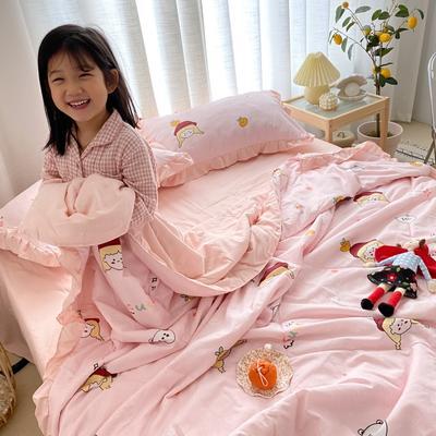 2020新款ins治愈系水洗棉夏被套件小模特图 200X230cm单夏被 元气女孩