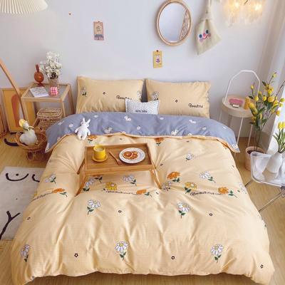 2020新款奶油系纯棉套件 1.8m床单款四件套 黄格雏菊