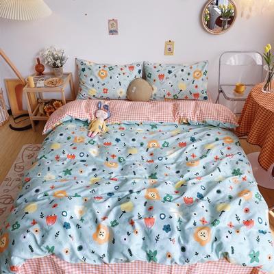 2020新款奶油系纯棉套件 1.8m床单款四件套 网红小花
