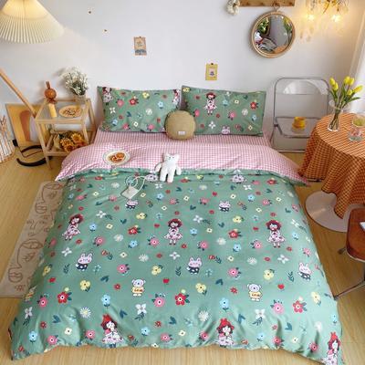 2020新款奶油系纯棉套件 1.8m床单款四件套 小花猫绿