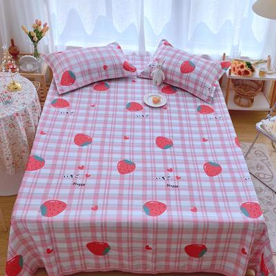 2020新款ins网红床单款冰丝席 230×250cm 冰丝席三件套 格纹草莓