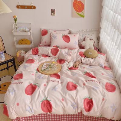 2020新款-13372全棉轻奢油画系四件套 1.2m床单款三件套 草莓花花
