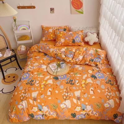 2020新款-13372全棉轻奢油画系四件套 1.5m床单款四件套 花果橘