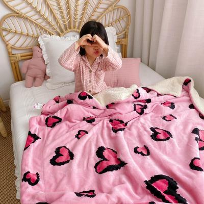 2020新款-ins网红风少女心温暖牌羊羔绒毯 200*230cm 粉豹纹