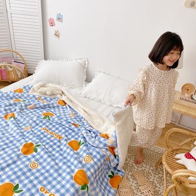 2020新款-ins网红风少女心温暖牌羊羔绒毯 200*230cm 格子橘子