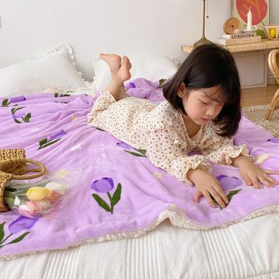 2020新款-ins网红风少女心温暖牌羊羔绒毯 200*230cm 韩系郁金香