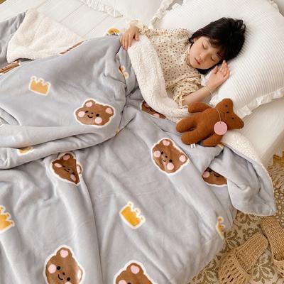 2020新款-ins网红风少女心温暖牌羊羔绒毯 200*230cm 皇冠小熊