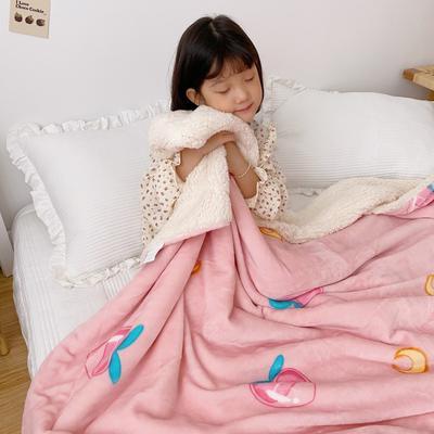 2020新款-ins网红风少女心温暖牌羊羔绒毯 200*230cm 美少女蜜桃