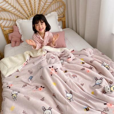 2020新款-ins网红风少女心温暖牌羊羔绒毯 200*230cm 森林蘑菇兔