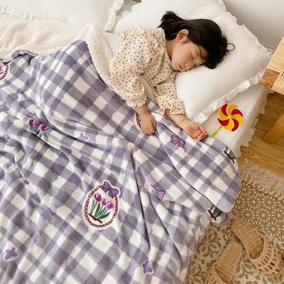 2020新款-ins网红风少女心温暖牌羊羔绒毯 200*230cm 紫格郁金香
