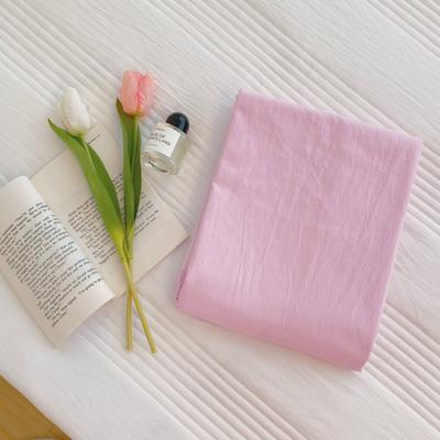 2020新款-混搭撞色水洗棉系列单品床单 245*250cm 樱花粉