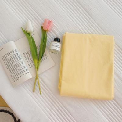 2020新款-混搭撞色水洗棉系列单品床单 245*250cm 奶油黄