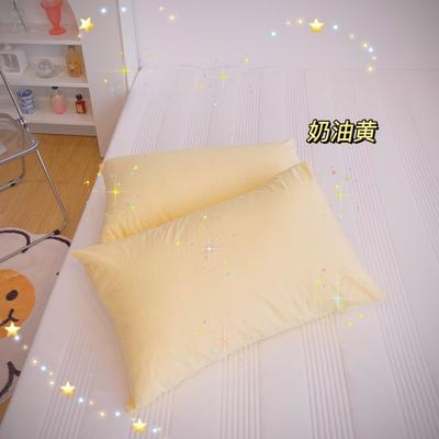 2020新款-混搭撞色水洗棉系列单品枕套 单只枕套48*74cm 奶油黄