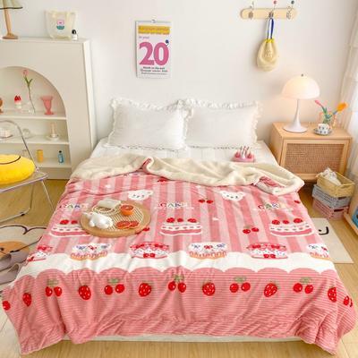 2020新款-牛奶魔法绒毛毯实拍图 150*200 草莓蛋糕