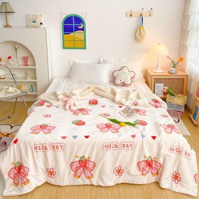 2020新款-牛奶魔法绒毛毯实拍图 200*230 草莓蝴蝶结