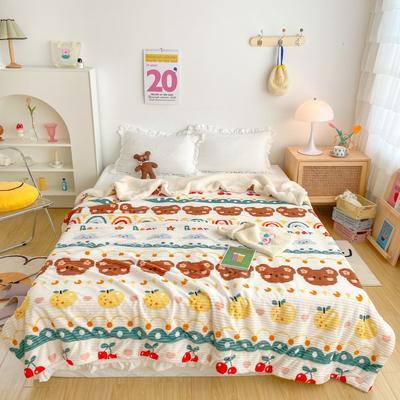 2020新款-牛奶魔法绒毛毯实拍图 200*230 富士小熊