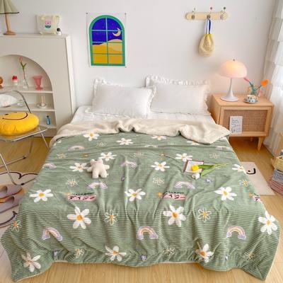 2020新款-牛奶魔法绒毛毯实拍图 200*230 绿底小花