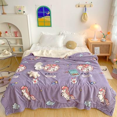 2020新款-牛奶魔法绒毛毯实拍图 200*230 梦幻独角兽