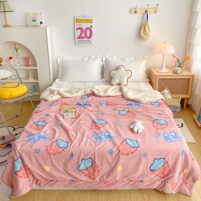 2020新款-牛奶魔法绒毛毯实拍图 200*230 甜心草莓