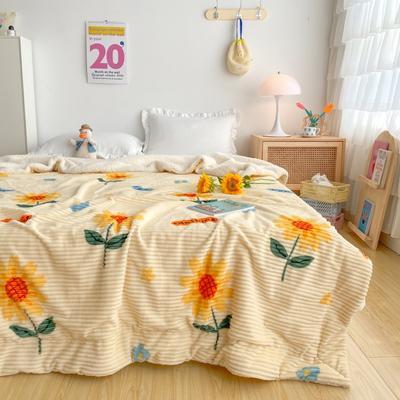 2020新款-牛奶魔法绒毛毯实拍图 200*230 向日葵