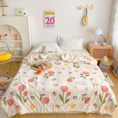2020新款-牛奶魔法绒毛毯实拍图 200*230 郁金香