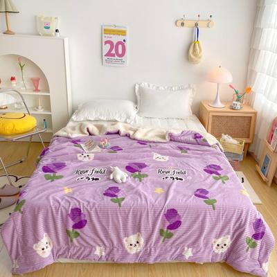 2020新款-牛奶魔法绒毛毯实拍图 200*230 紫玫瑰