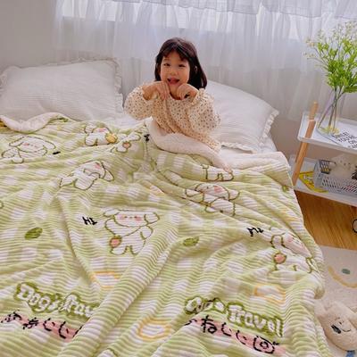 2020新款-牛奶魔法绒毛毯小模特图 200*230 背包小狗