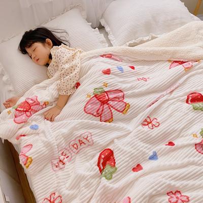 2020新款-牛奶魔法绒毛毯小模特图 200*230 草莓蝴蝶结
