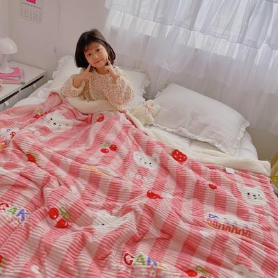 2020新款-牛奶魔法绒毛毯小模特图 150*200 蛋糕草莓