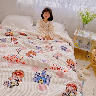 2020新款-牛奶魔法绒毛毯小模特图 200*230 假期少女