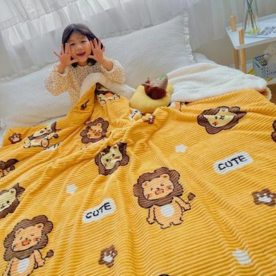2020新款-牛奶魔法绒毛毯小模特图 200*230 可爱狮子