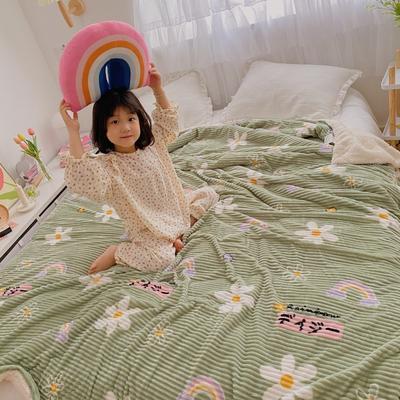 2020新款-牛奶魔法绒毛毯小模特图 200*230 绿底小花